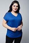 Kadın Büyük Beden V Yaka Omuzu Taşlı Mavi Bluz