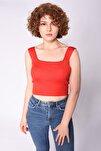 Kare Yaka Bluz Kırmızı