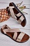 L.altın/camel Lastik Kadın Sandalet L0642222210