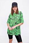 Kadın Yeşil Baskılı Yırtmaçlı Kısa Kollu Tişört Y20s110-3124