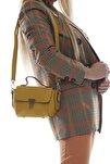 Kadın Koyu Sarı Mini Fermuarlı Kapaklı Askılı Omuz ve El Çantası Fb3013