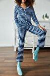 Kadın Saks Kareli Örme Pijama Takımı 1KZK8-11024-15
