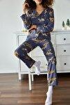 Kadın Antrasit Kaplan Baskılı Örme Pijama Takımı 1KZK8-11024-36