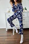 Kadın Lacivert Tavşan Baskılı Örme Pijama Takımı 1KZK8-11024-77