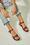 Hakiki Deri Mavi Yeşil Kadın Sandalet K05685161903