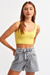 Kadın Canlı Sarı 3540 Askılı Crop Top 101a03540