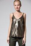 Hakiki Deri Örgü Askılı Metalik Bronz Bluz