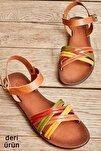 Hakiki Deri Sarı Yeşil Kadın Sandalet K05685161903