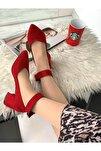 Bilekten Kemer Detaylı Kadın Topuklu Ayakkabı-s. Kırmızı