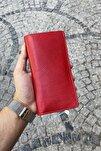 Unisex Kırmızı Premium Tasarım  Deri Cüzdan