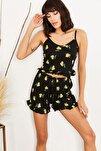 Kadın Siyah Limon Askılı Fırfırlı Pijama Takımı TKM-19000076