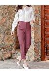 Kadın Pembe Yüksek Bel Dikiş Detaylı Pantolon