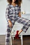 Kadın İndigo Kareli Örme Pijama Takımı 1KZK8-11024-27