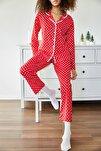 Kadın Kırmızı Puantiyeli Örme Pijama Takımı 1KZK8-11024-74