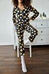 Kadın Lacivert Garfield Baskılı Örme Pijama Takımı 1KZK8-11024-72