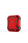 Airpods Uyumlu Kılıf Airbag 15 Zırh Koruma Askılı Şarj Kutusu Koruyucu Kırmızı