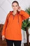 Kapşonu Şerit Detaylı Fermuarlı Büyük Beden Oranj Sweatshirt