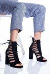Petra Topuklu Ayakkabı Siyah Süet