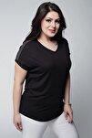 Kadın Büyük Beden V Yaka Omuzu Taşlı Siyah Bluz