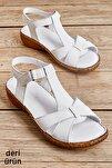 Hakiki Deri Beyaz Kadın Sandalet K05809926803