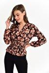 Kadın Oranj Örme Crep Gipeli Bluz
