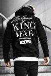 Unisex King Siyah Baskılı % 100 Pamuk Kapüşonlu Sweatshirt