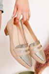 Mia Topuklu Krem Süet Gold Detay Ayakkabı