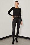 Taşlanmış Yüksek Bel Pantolon - Taşlanmış Siyah