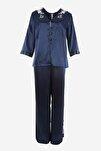 Nakış Detaylı Saten Pijama Takımı