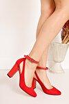 Lillian Topuklu Kırmızı Süet Ayakkabı