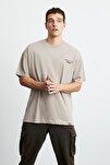 Mark Erkek Bej Önü Ve Arkası Siyah Baskılı Kısa Kollu Oversize T-shirt