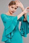 Elbise Bato Yaka- Kol Ucu Volan Ve Taş Detaylı, Kalem