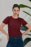 Kadın Bordo Basic Tshirt
