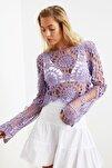 Lila Dantel Örme Bluz TBESS20BZ0572