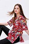 Kadın Baskılı Yırtmaçlı Kısa Kollu  T-Shirt  Y20s110-3124
