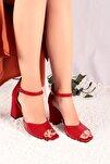 Aida Rugan-süet Kırmızı Topuklu Ayakkabı