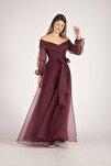 Bordo Kayık Yaka Yırtmaçlı Abiye & Mezuniyet Elbisesi 1301583