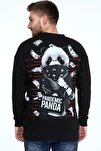 Siyah Pandemic Panda Baskılı Oversize Erkek Sweatshirt