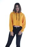Hardal Sarı Kapüşonlu Crop Kadın Sweatshirt/hoddie Ylkn0031