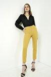Kadın Hardal Klasik Düz Pantolon