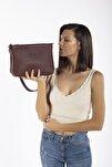 Aynı Butikte 2.Ürün 1 TL  Bordo Kadın Beş Gözlü Çok Bölmeli Çapraz Çanta Postacı  ve Omuz Çantası