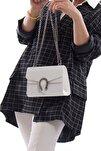 Beyaz Kroko Deri Kadın Zincir Askılı Çanta Fb3020