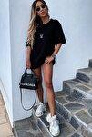 Kadın Siyah Mickey Mouse Baskılı Oversize T-shirt