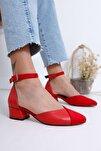 Holly Topuklu Kırmızı Cilt-süet Ayakkabı