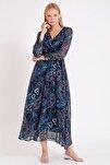 Etnik Desen Kruvaze Yaka Büyük Beden Şifon Elbise