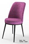 Dexa Serisi Mor Renk Sandalye Mutfak Sandalyesi, Yemek Sandalyesi Ayaklar Siyah