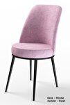 Dexa Serisi Pembe Renk Sandalye Mutfak Sandalyesi, Yemek Sandalyesi Ayaklar Siyah