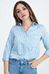 Kadın Mavi Gizli Cep Katlama Kol Çizgili Gömlek