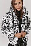 Kadın Desenli Kapşonlu Şişme Mont Y20w110-5215