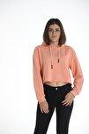 Turuncu Kapüşonlu Crop Kadın Sweatshirt/hoddie Ylkn0031